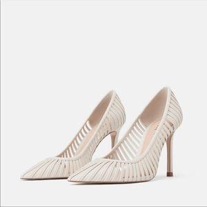 NWT Zara White Heeled Shoes